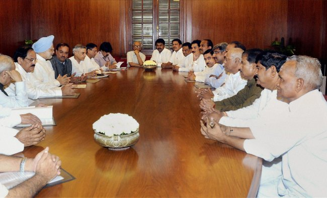 Prime Minister Manmohan Singh meeting with BJP MPs from Karnataka over Cauvery issue