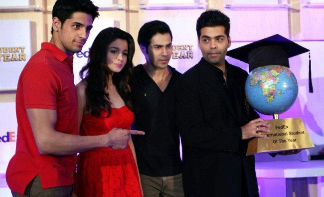 Director Karan Johar with actors Varun Dhawan, Sidharth Malhotra and Aalia Bhat