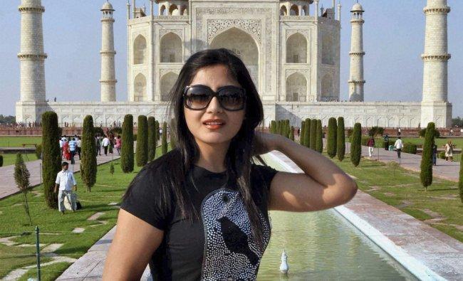 Rimi Sen during her visit at the Taj Mahal in Agra