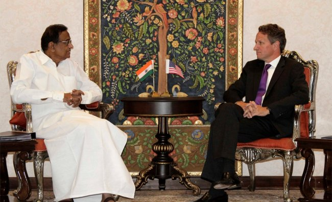 P Chidambaram speaks with U.S. Treasury Secretary Timothy Geithner during their meeting in New Delhi