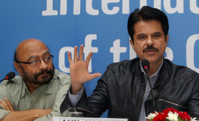 Bollywood actor Anil Kapoor addresses a press conference of Plan India, a child centred community...