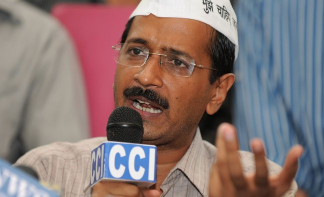 Anti-corruption activist Arvind Kejriwal addressing a press conference in New Delhi on Tuesday.