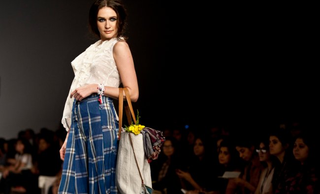 A model displays a creation by Aneeth Arora during the Wills Lifestyle India Fashion Week