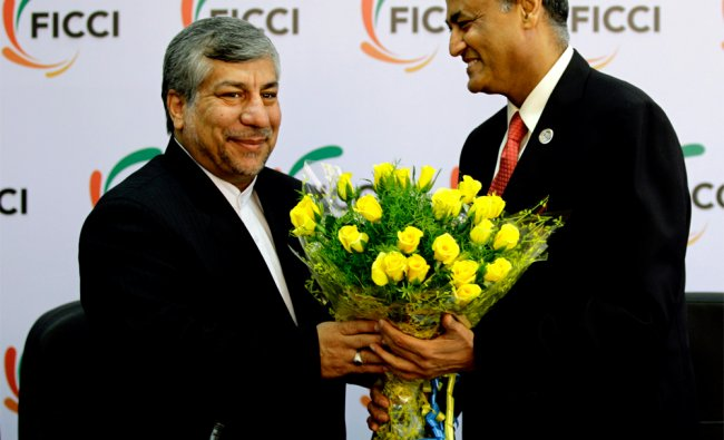 Iranian Energy Minister Majid Namjoo greeted by R. V. Kanoria...