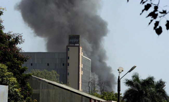 Smoke billowing out of Bharat Heavy Electricals Limiteds (BHEL) plant after a major in Bhopal on...