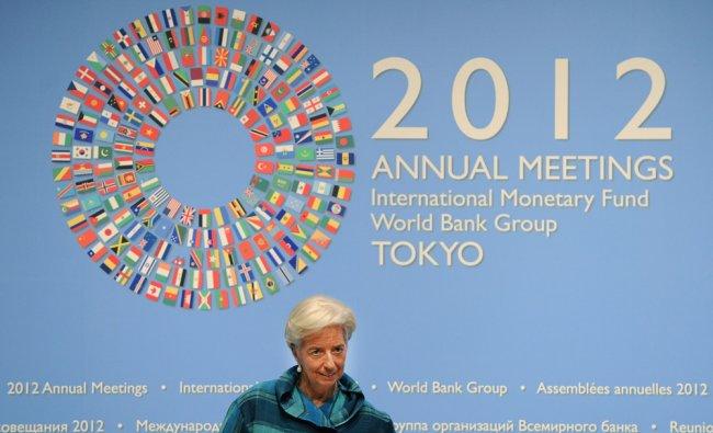 International Monetary Fund (IMF) managing director Christine Lagarde arrives at a press...
