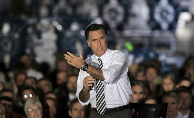 US Republican presidential candidate, former Massachusetts Gov. Mitt Romney campaigns at Ariel...