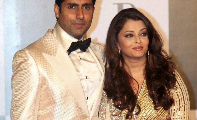 Abhishek Bachchan poses with wife Aishwarya Rai Bachchan at a party hosted by Anil Ambani on the...