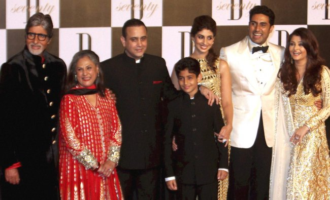Amitabh Bachchan with wife Jaya and other family members at a party hosted by Anil Ambani on the...