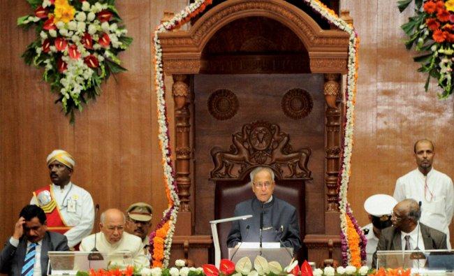 President Pranab Mukherjee addresses the Karnataka Legislature in Belgaum on Thursday