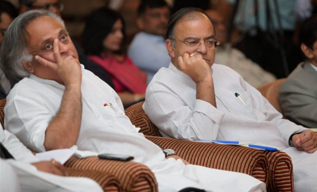 Union Rural Development Minister Jairam Ramesh and Leader of Opposition in Rajya Sabha Arun...
