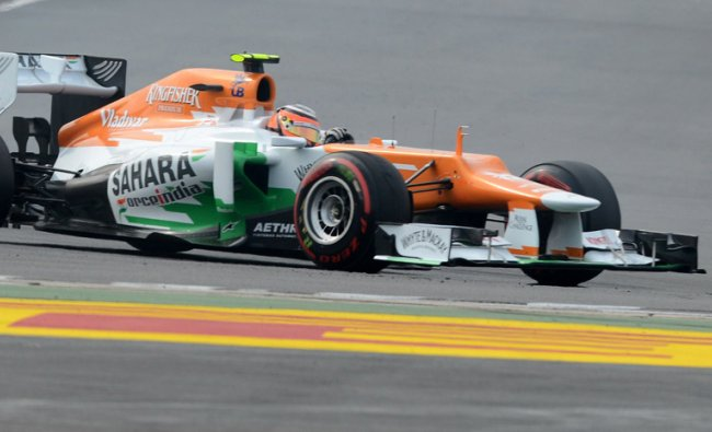 Sahara Force India driver Nico Hulkenberg of Germany takes a corner during the qualifying round...