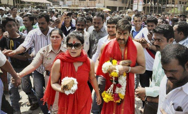Bollywood actor Ajay Devgn with wife actress Kajol on way to Mahalaxmi temple in Kolhapur...