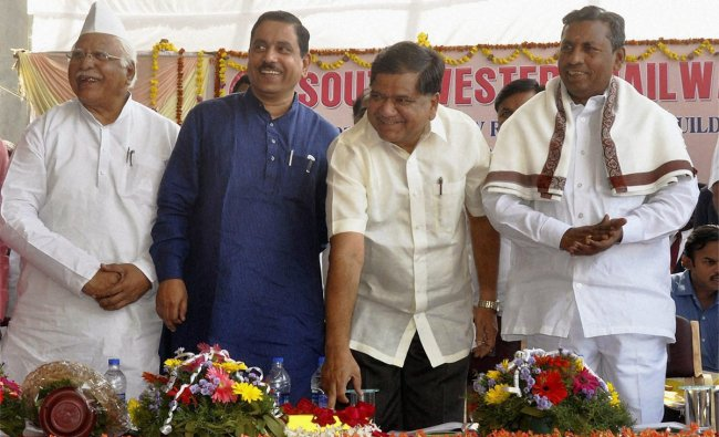 Karnataka Chief Minister Jagadish Shivappa Shettar at the inauguration of New Hubli railway station