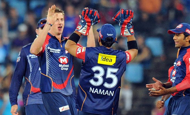 Delhi Daredevils bowler Morne Morkel celebrates the dismissal of Brendon McCullum...