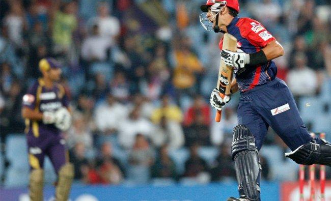 Delhi Daredevils\'s batsman Ross Taylor reacts after his dismissal by Pradeep Sangwan...