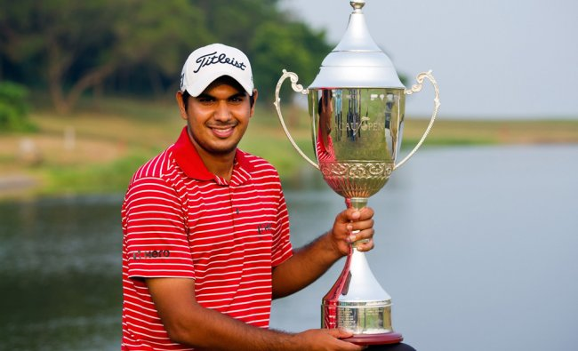 This handout photo taken and received by the Asian Tour on October 14, 2012 shows Gaganjeet...