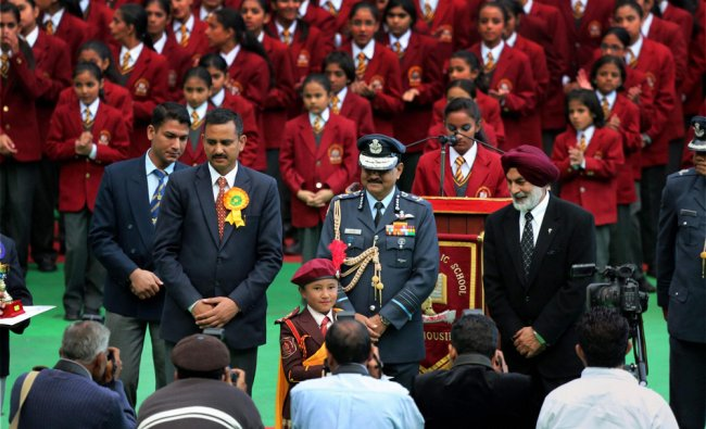Air Force Chief, Air Chief Marshal NAK Browne addressing the students of the Dalhousie Public...