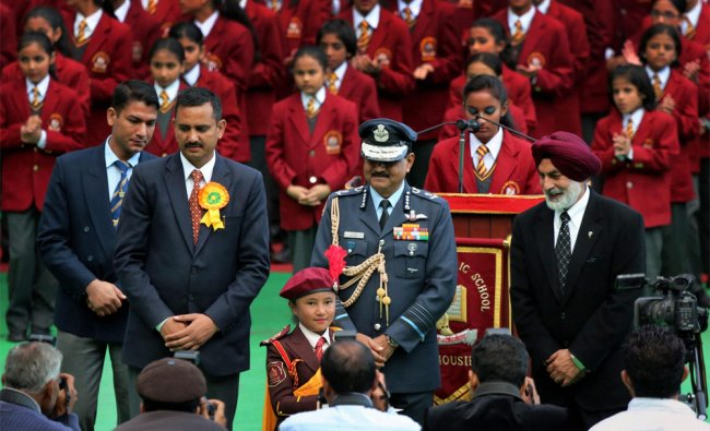 Air Chief Marshal NAK Browne addressing the students of the Dalhousie Public School ...
