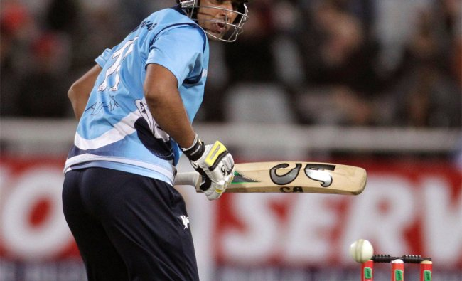Auckland Aces Azhar Mahmood looks back as he played a shot...