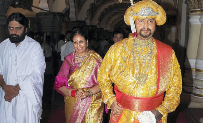 Mysore royal family member Srikantadatta Narasimharaja Wadiyar at his darbar at Mysore Dussehra...