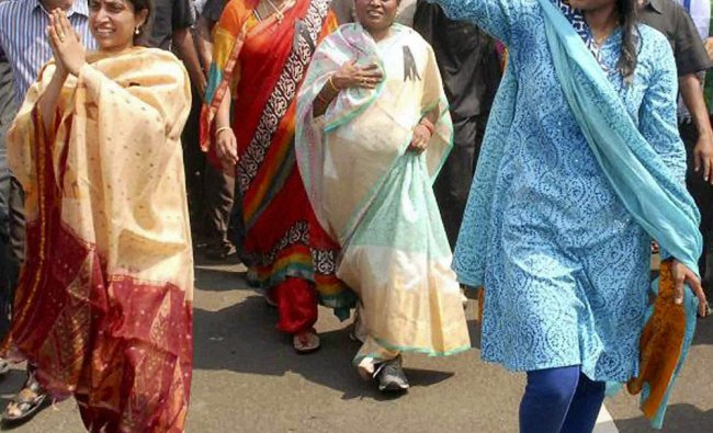 YSR Congress leaders Y S Vijayamma, Bharati, Sharmila and others during \'padayatra\' programme in...
