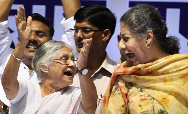 Union I & B Minister Ambika Soni and Delhi Chief Minister Sheila Dikshit at an award function in...