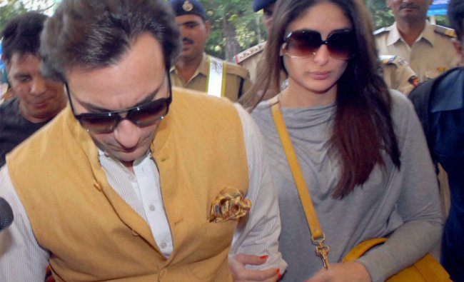 Newly-wed couple Saif Ali Khan and Kareena Kapoor arrive at the aiport in Mumbai to fly out for...