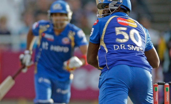 Mumbai Indians Dwayne Smith makes a run against Yorkshire during the Champions League Twenty20 ...
