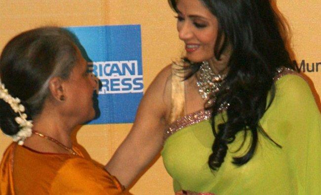Jaya Bachchan and Shridevi at the 14th Mumbai International Film Festival in Mumbai ...
