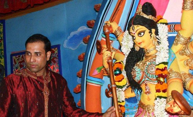 Former cricketer VVS Laxman during inauguration of a Durga Puja pandal in Kolkata ...