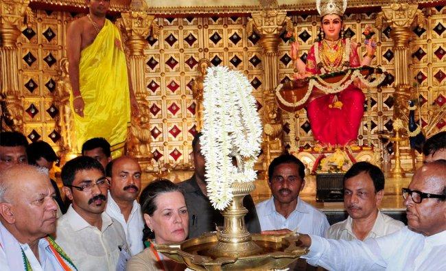 Sonia Gandhi, UPA Chairperson at Sri Gorkarnanatha Temple at Kudroli in Mangalore on Thursday...