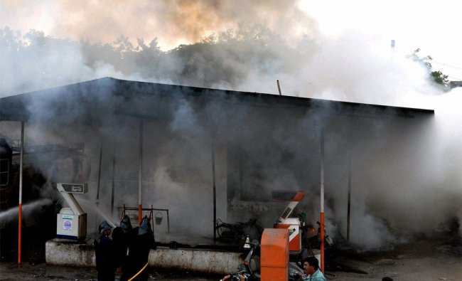 Smoke billows out of a petrol pump after petrol tanker fire and blast in Aurangabad, Maharashtra ...