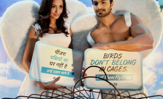 Ashmit Patel and Madhura Naik pose for a PETA campaign in Mumbai