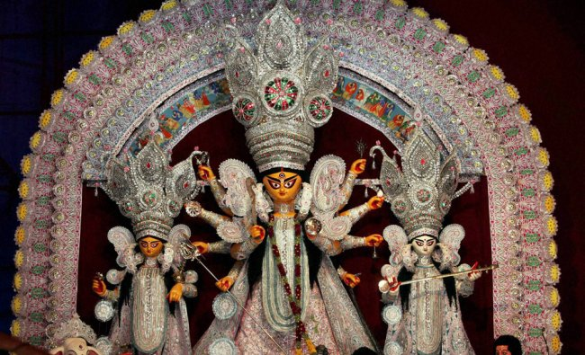 An idol of Devi Durga at a community puja pandal in Kolkata
