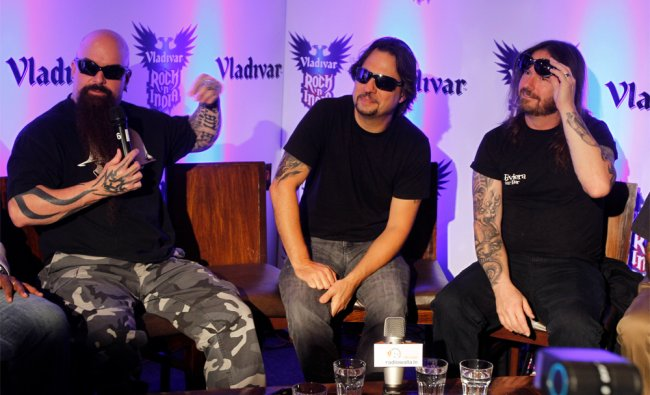 Members, from left, of Slayer, an American thrash metal band, guitarist Kerry King, drummer...
