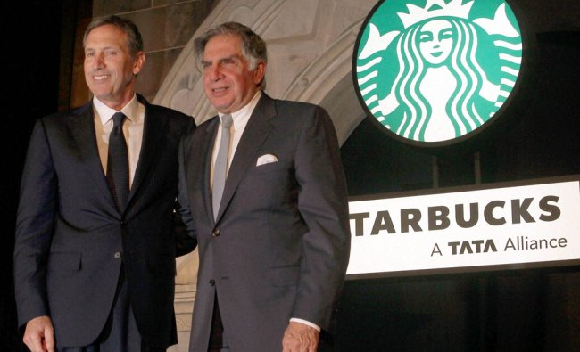 Starbucks President and CEO Howard Schultz and industrialists Ratan Tata