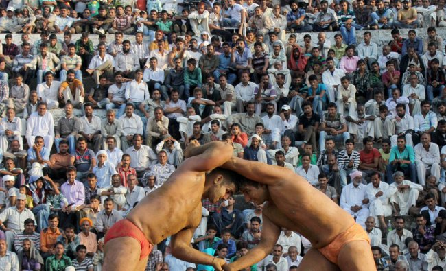 Wrestlers fight during an annual traditional wrestling championship