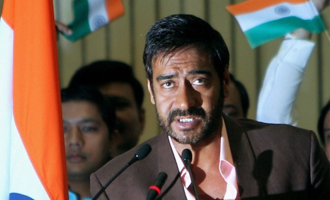 Actor Ajay Devgn speaks at the National Police Day function in New Delhi on Saturday