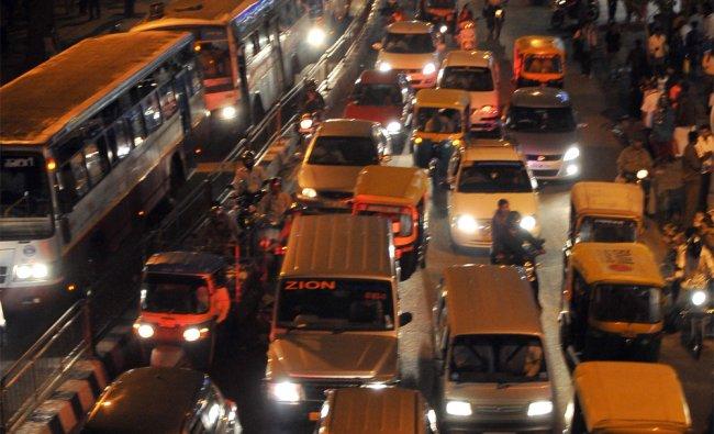 Traffic jam at Majestic Circle in Bangalore on Saturday...