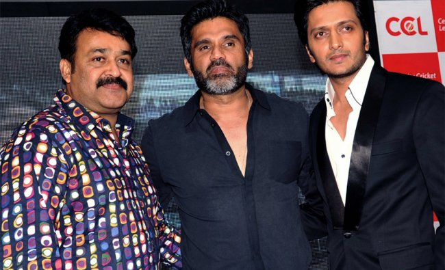 Actors Mohanlal, Suniel Shetty, Riteish Deshmukh during the announcement of new CCL teams in Mumbai