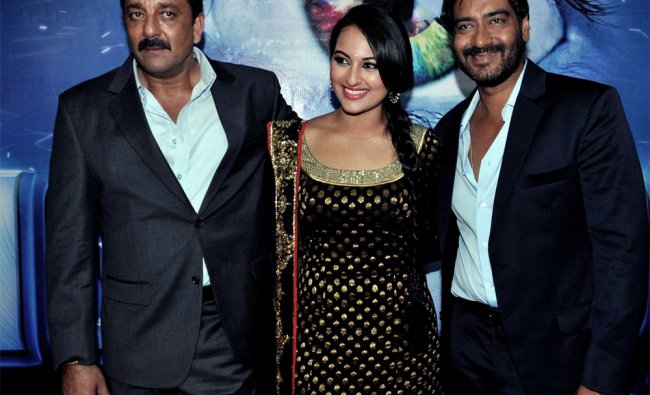 Actors Sanjay Dutt, Sonakshi Sinha and Ajay Devgan during the promotion of \' Son of Sardaar\'...