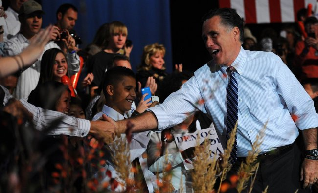 US Republican Presidential candidate Mitt Romney holds a campaign rally at Red Rock...