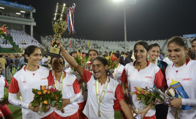 Railway Sports Promotion Board team celebrate after they won the 2nd Hockey India