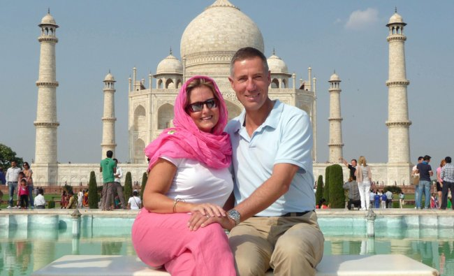 Andy Green, current record holder of the world land speed record poses at the Taj Mahal