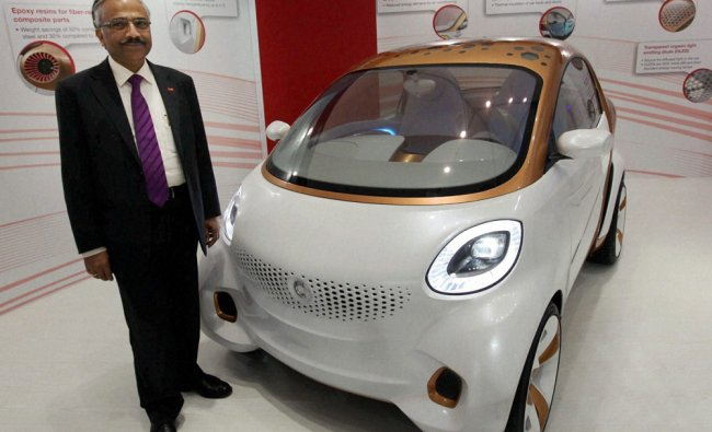 Prasad Chandran, Chairman and MD, BASF India, at the launch of the company\'s new concept car in...