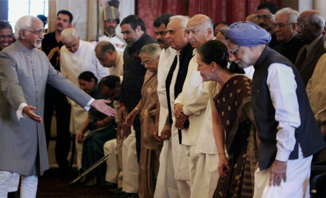 Dignitaries during the swearing-in ceremony for the new ministers at Rashtrapati Bhavan