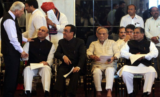 Newly sworn-in Cabinet Ministers at Rashtrapati Bhavan in New Delhi on Sunday.