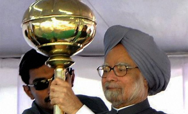 Prime Minister Manmohan Singh in an Election rally at Una in Himachal Pradesh on Sunday...