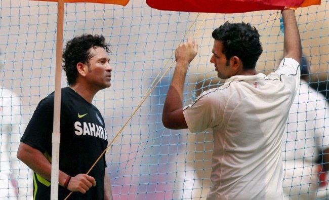 Mumbai\'s Sachin Tendulkar and Rohit Sharma during a practice session in Mumbai